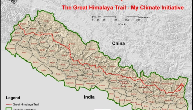 Great Himalaya Trail on Map.