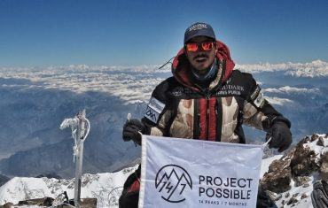 Nirmal Purja, Nims Dai posing for the photo on the to of high Himalayas!